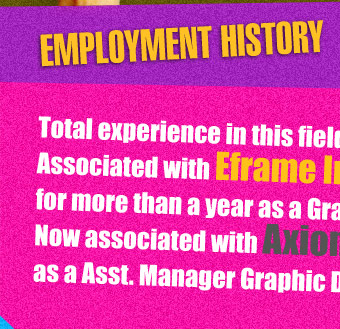 Employment History - Total experience in this field for three years.