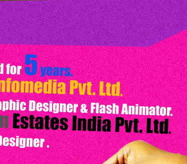 Now associated with Axiom Estates India Pvt. Ltd. (From February 2008 to till date) as a Graphic Designer in Executive Grade.
